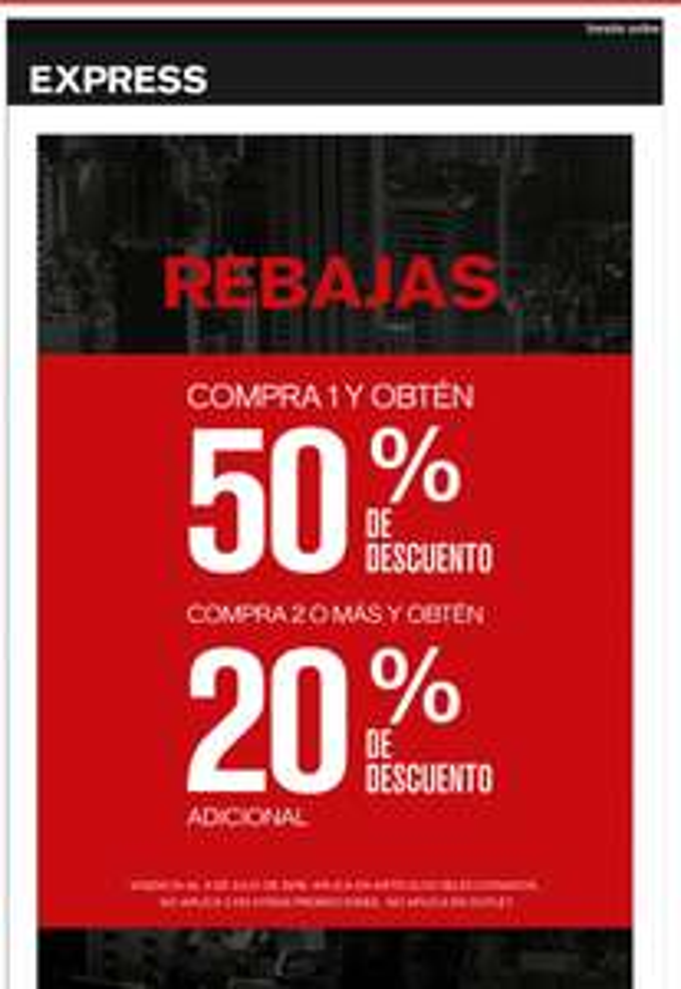Tienda Express: 50% de desc. en 2da prenda y 20% adicional comprando 2 o más