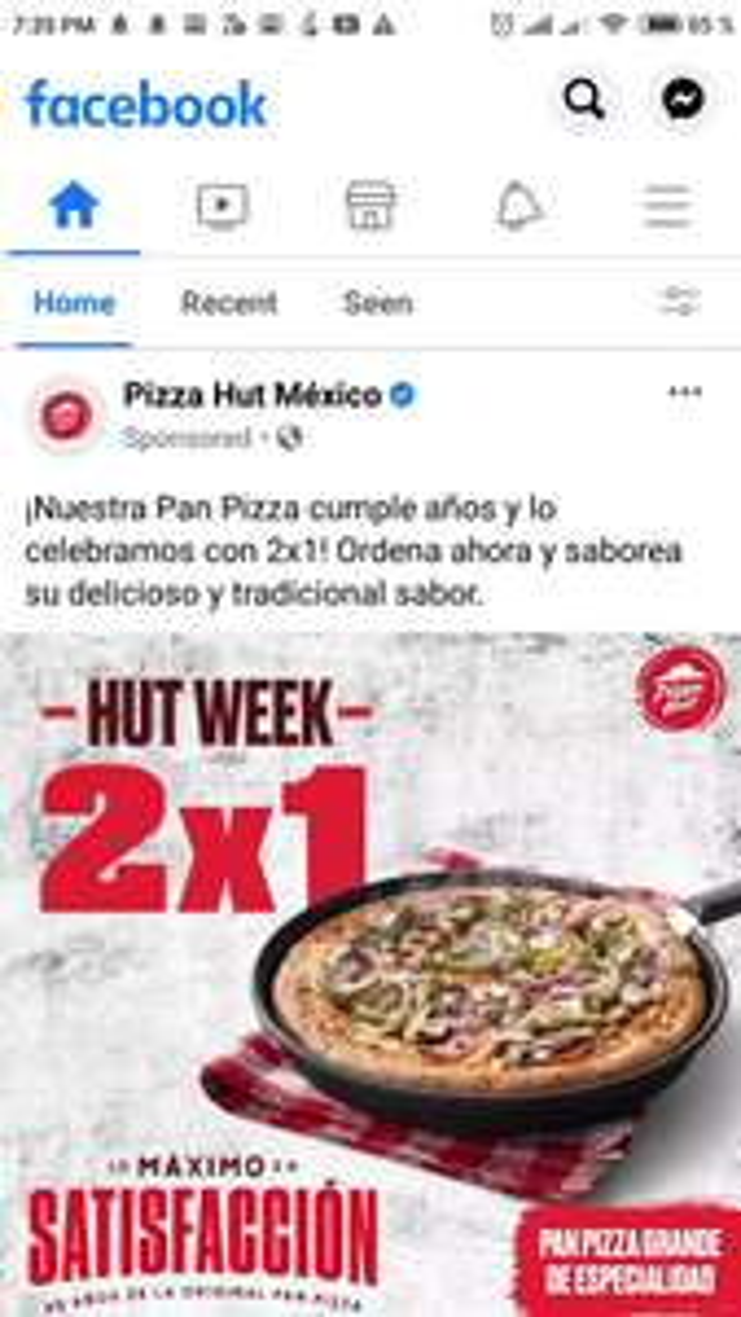 Pizza Hut: Hut Week 2x1 En Pan Pizza Grande 2 a 4 ingredientes. (Especialidad $259)