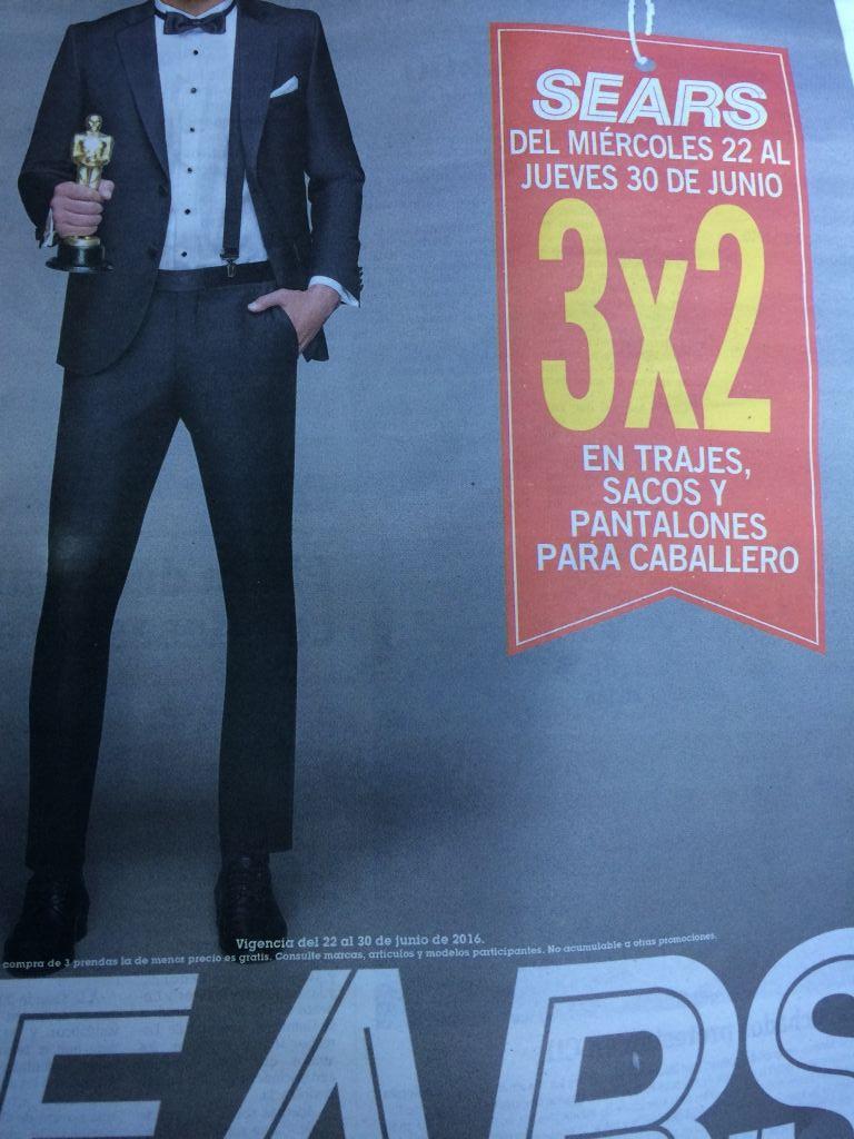 Sears: 3x2 en trajes, sacos y pantalones de caballero