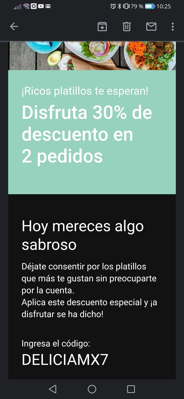 30% de descuento en UberEats (usuarios seleccionados)