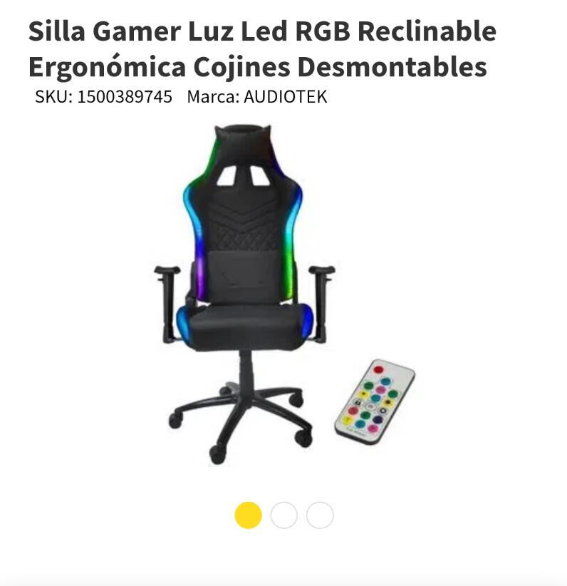 Elektra - Silla Gamer Luz Led RGB Marca AUDIOTEK