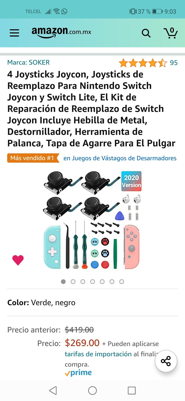 Amazon: 4 Joysticks Joycon, Joysticks de Reemplazo Para Nintendo Switch Joycon y Switch Lite, El Kit de Reparación de Reemplazo de Switch