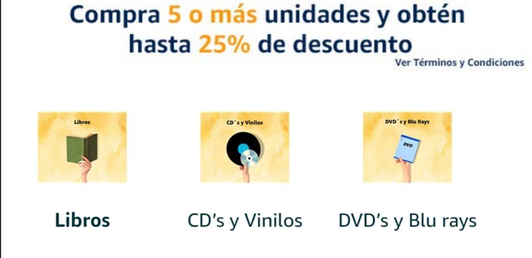 Amazon: Hasta 25% de descuento en libros, cd's y dvd's