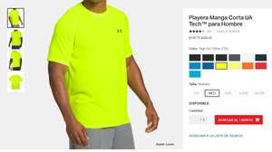 Under Armour: Playera Manga Corta UA Tech™ para Hombre, solo el color high-vis yellow a ese precio