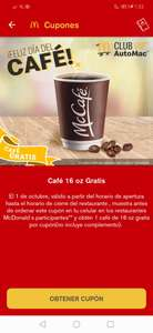 McDonald's App: Cafe 16 oz gratis