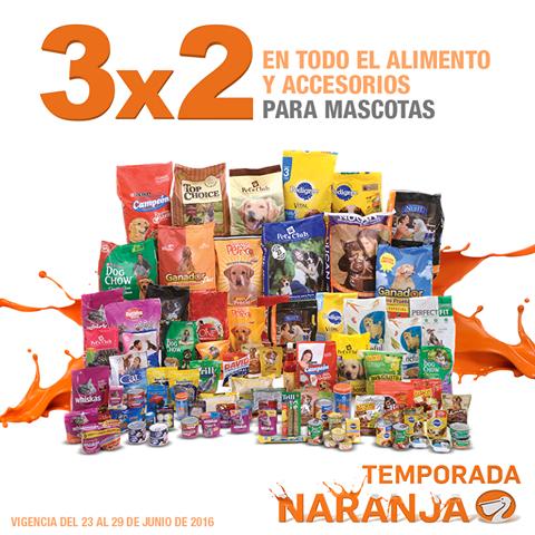 Temporada Naranja (antes Julio Regalado) en La Comer: 3x2 en todo el alimento y accesorios para mascotas