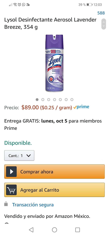 Amazon: Lysol Desinfectante Aerosol Lavender Breeze, 354 g
