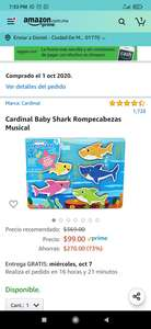 Amazon: Rompecabezas musical Baby Shark