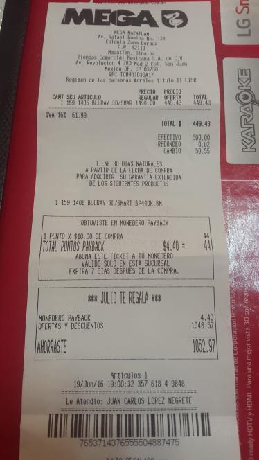 Comercial Mexicana: Blu-Ray LG 3D Bp440k a $449.43