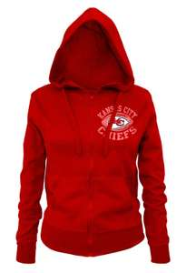 Amazon: Hoddie NFL Kansas City Chiefs Ladies Zipped Hooded Fleece, mediana, roja