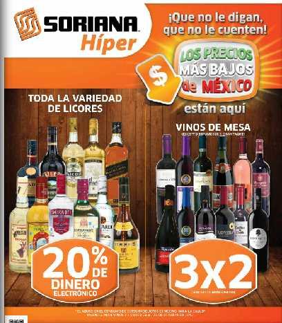 Folleto Soriana: 3x2 en vinos de mesa, desechables, arroz, 30% en dulces Ricolino, Carlos V y +