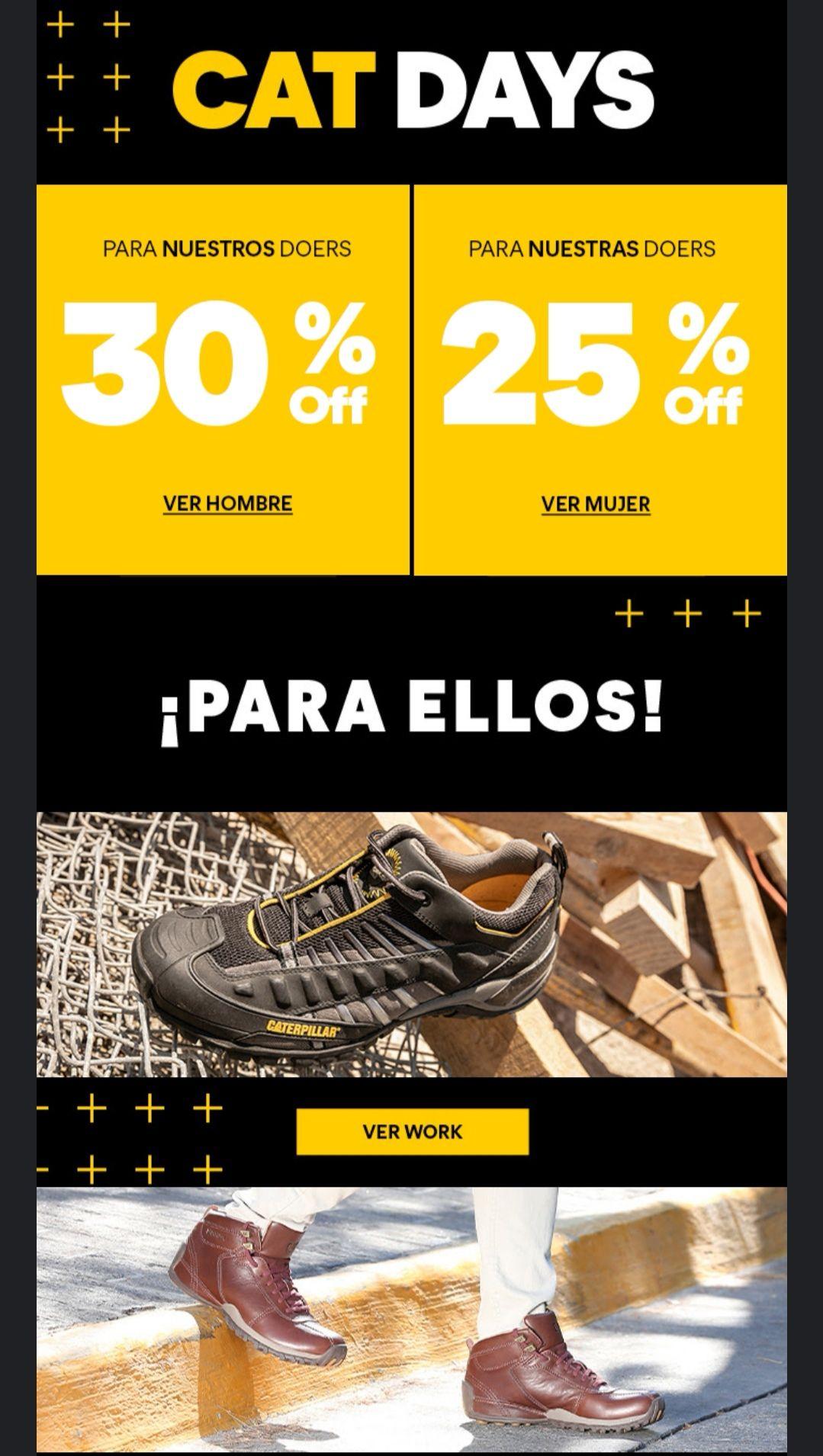 Catfootwear: Cat Days 30% de descuento hombres y 25% mujeres