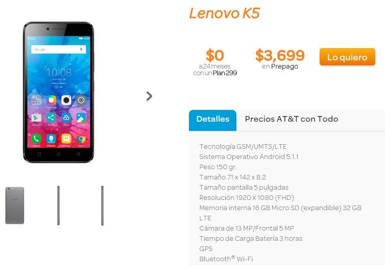 AT&T: Lenovo K5 Gratis en plan de $299/24 meses