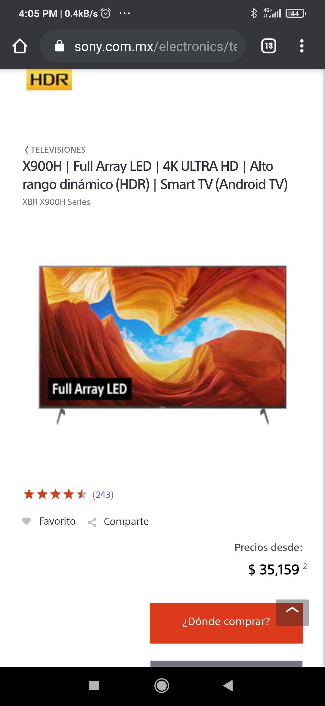 Sony Store Tienda e Internet - Sony Bravia X900H a $26,998 y a 12 MSI con BBVA