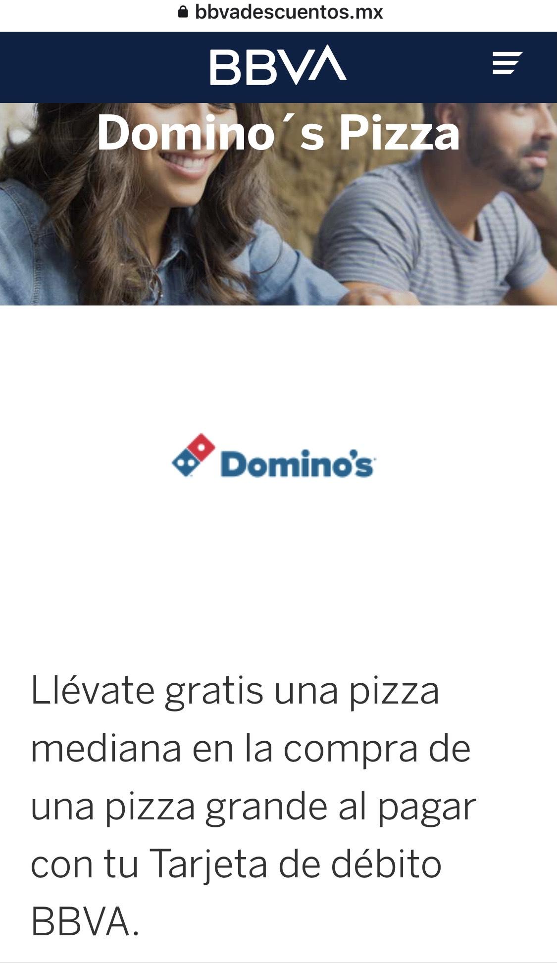 Domino's Pizza: pizza mediana 1 ingrediente gratis, en la compra de una pizza grande con BBVA