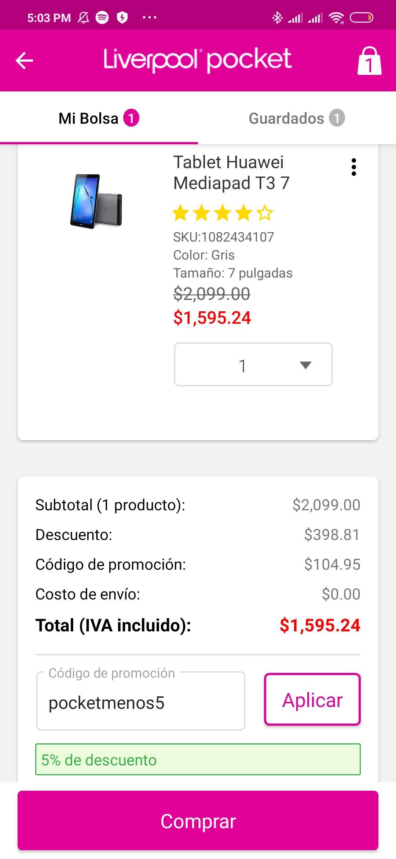 Liverpool: Tablet Huawei Mediapad T3 ($1,595 con cupon de primera compra)