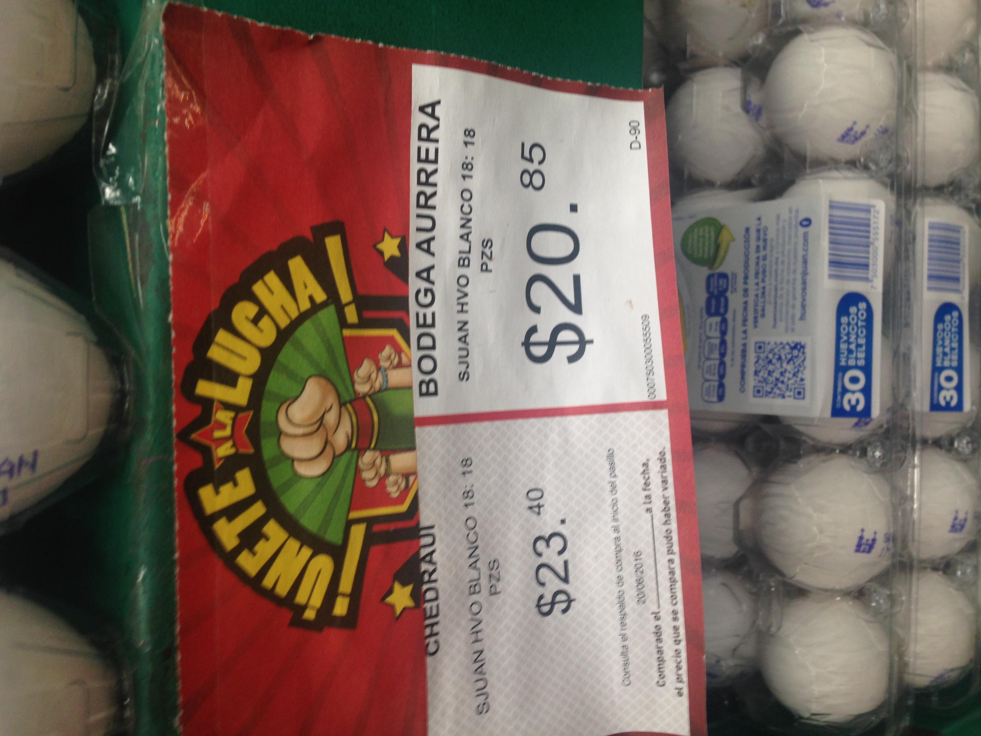Bodega Aurrerá: Huevo blanco San Juan 18 pzas. A $20.85