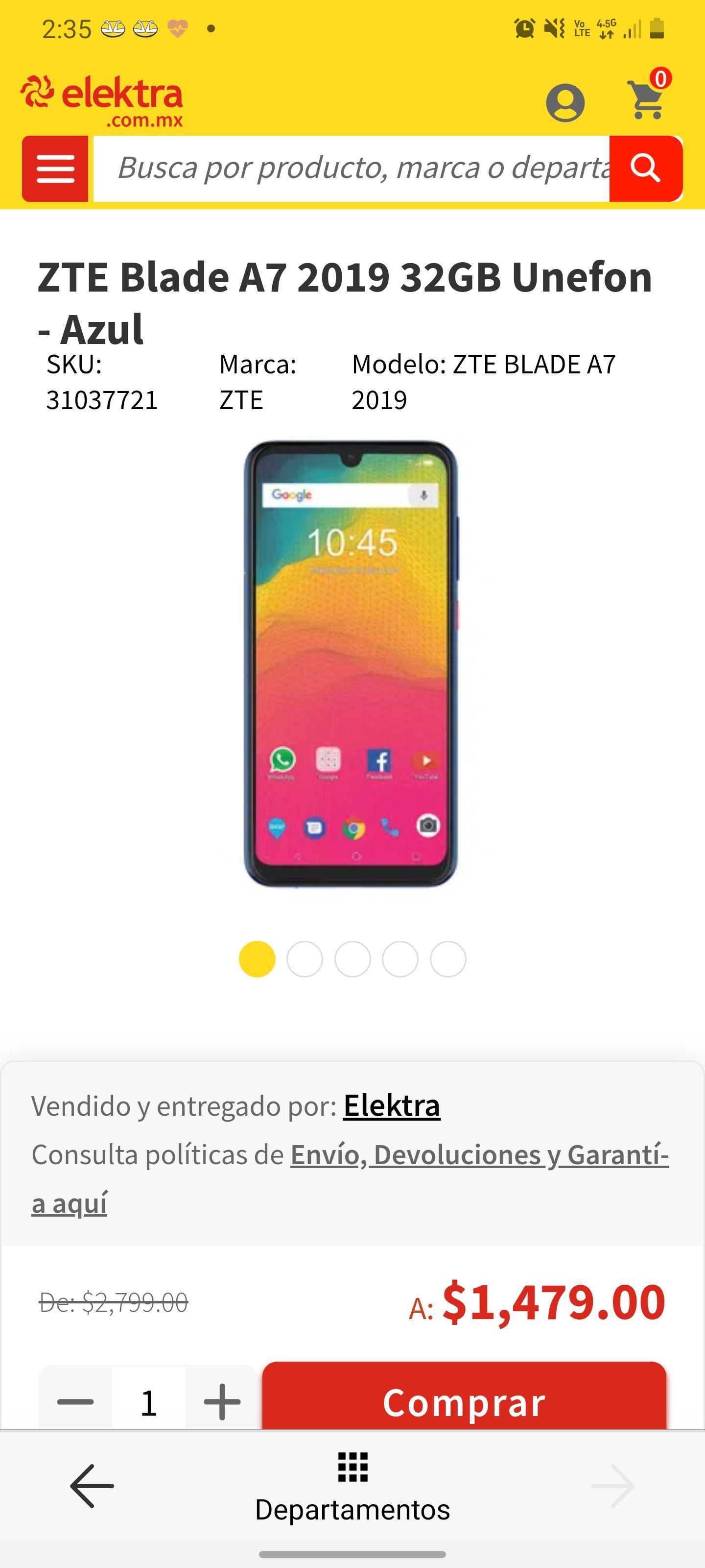 Smartphone Zte blade A7 2019 unefon Elektra