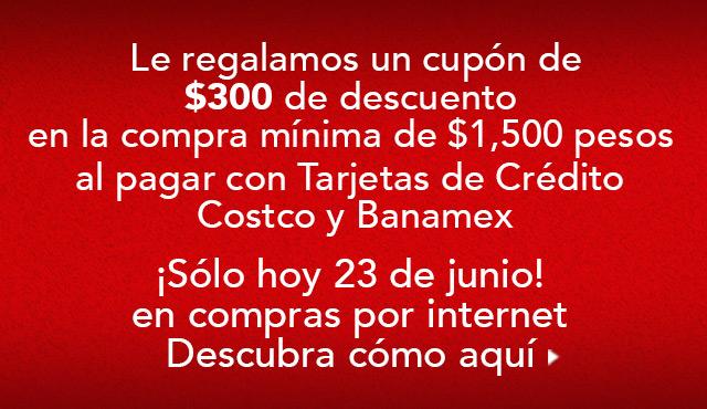 Costco: cupón $300 de descuento en compras de $1,500 con Banamex 23/junio