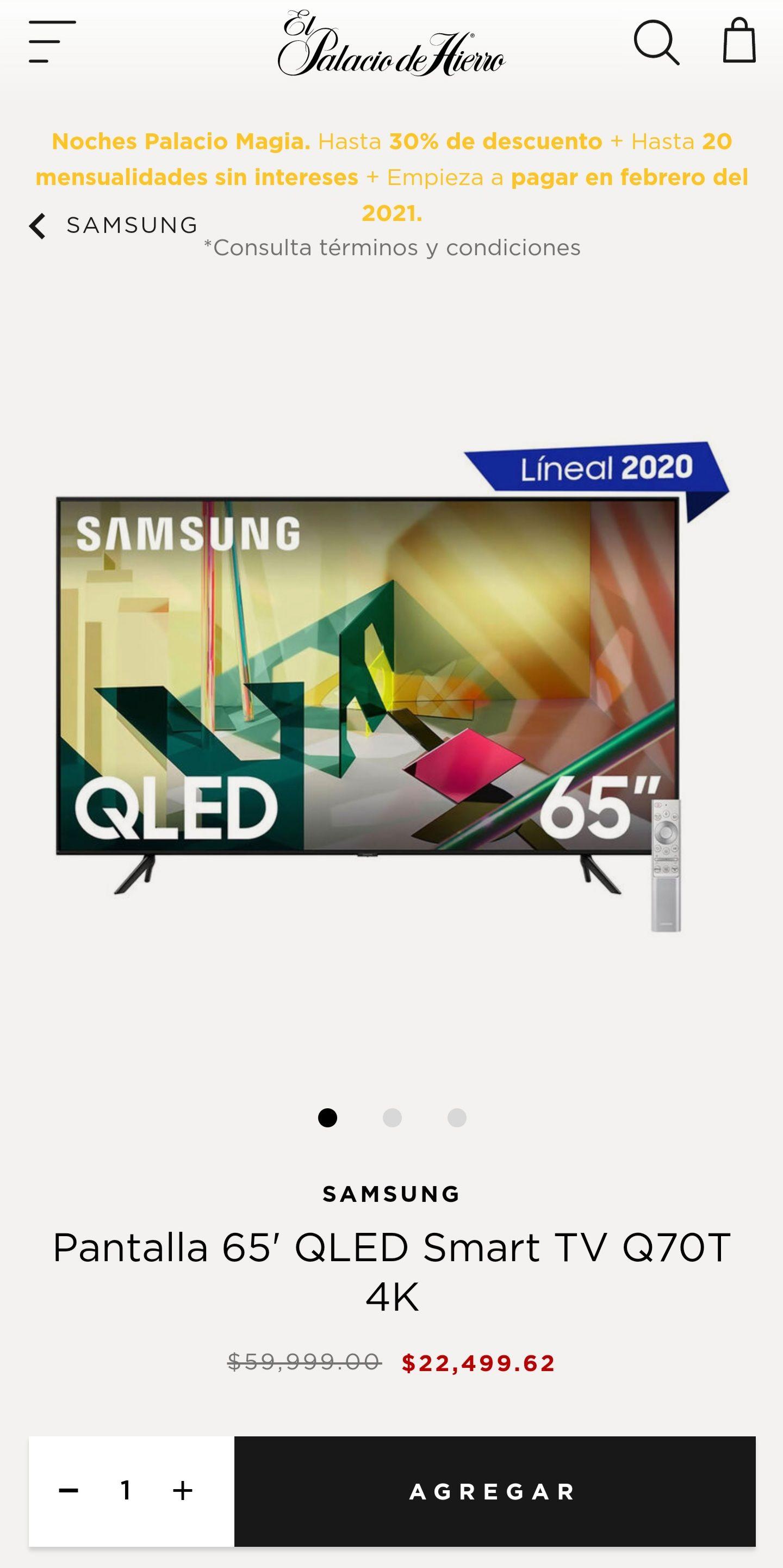 """El Palacio de Hierro: Pantalla 65"""" 4k Samsung QLED Q70T"""