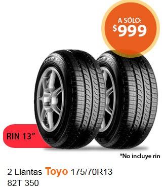 Walmart en línea: Paquete 2 llantas Toyo 175/70R13 82T 350