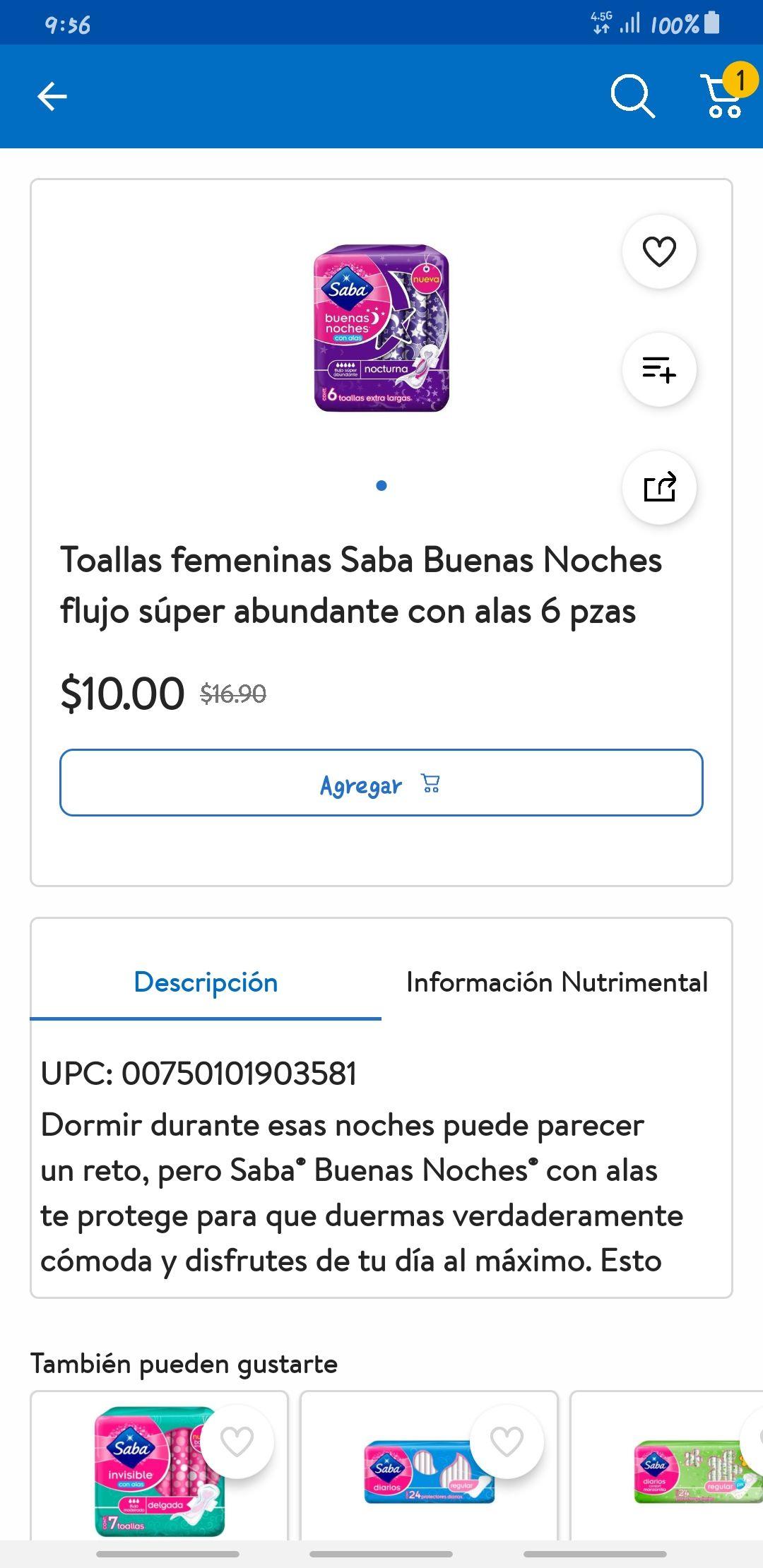 Walmart Toallas femeninas Saba Buenas Noches