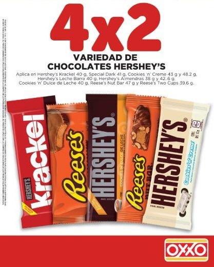 Oxxo: 4x2 en chocolates Hershey´s