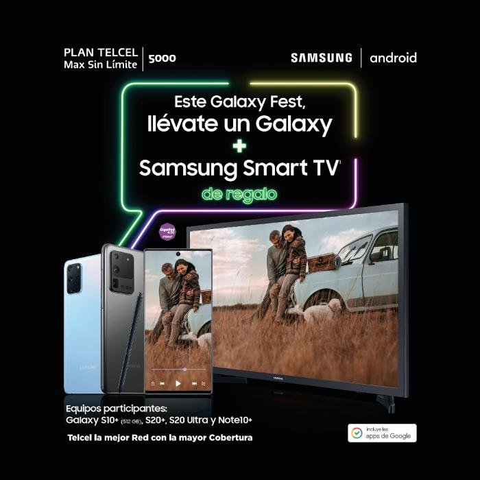 Telcel: Smart TV Samsung gratis contratando plan Max Sin Límite 5000 adquiriendo equipo Samsung Galaxy
