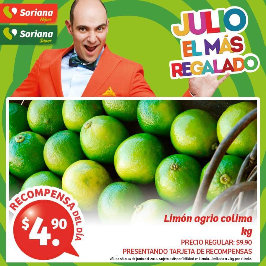 Soriana Hiper: Recompensas del dia 24 de Junio Limón Agrio 4,90 kg y más