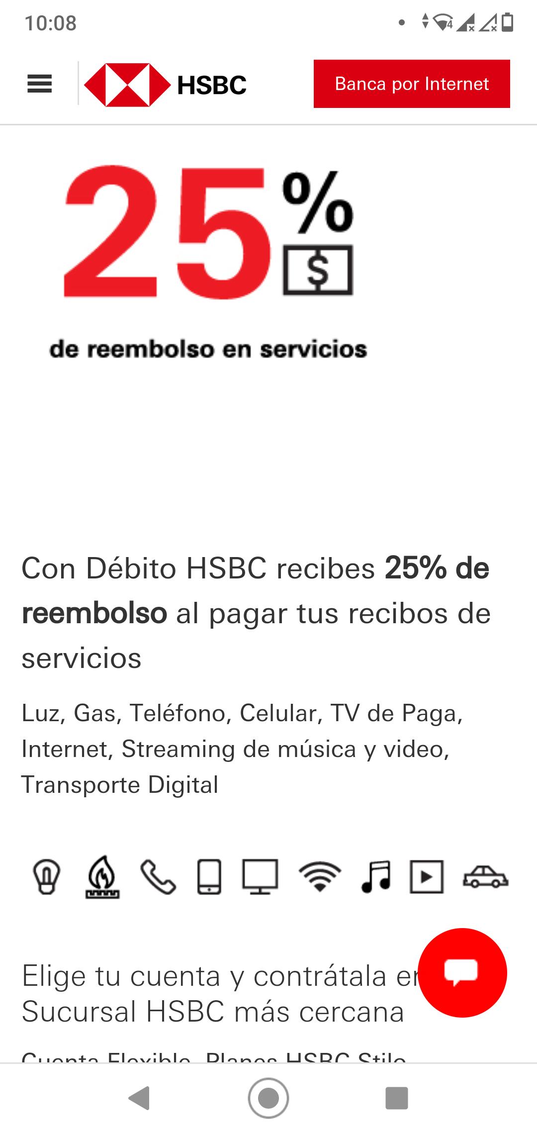 HSBC: 25% de reembolso en pago de servicio (Usuarios nuevos)