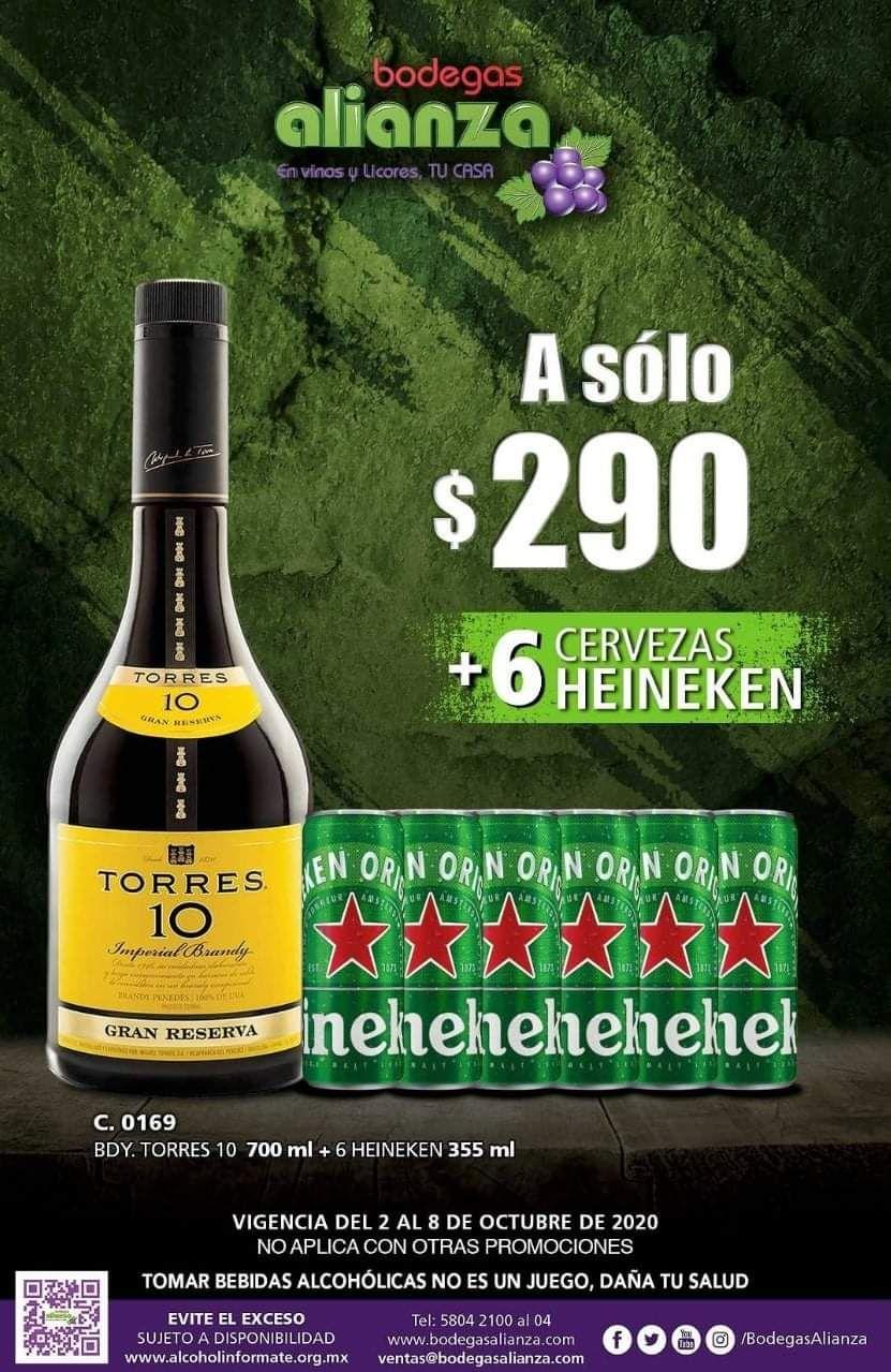 Bodegas Alianza: Brandy Torres 10 700 ml + 6 Heineken 355 ml $290 (sólo tienda física)