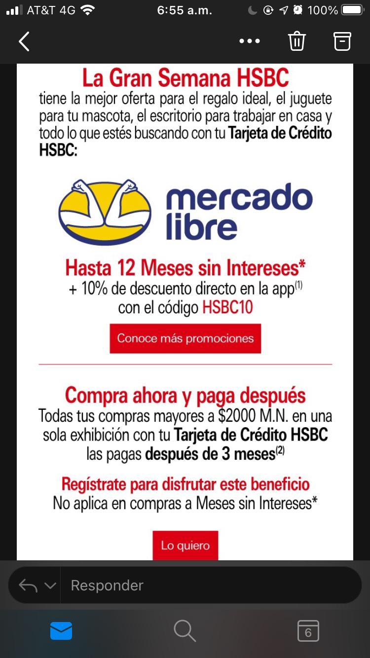 Mercado Libre: 10% de descuento con tarjeta de crédito HSBC Del 5 al 11 de octubre 2020