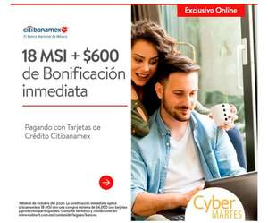 WALMART: CYBERMARTES $600 DE BONIFICACION INMEDIATA PAGANDO con CitiBanamex A 18MSI COMPRA MINIMA $4000