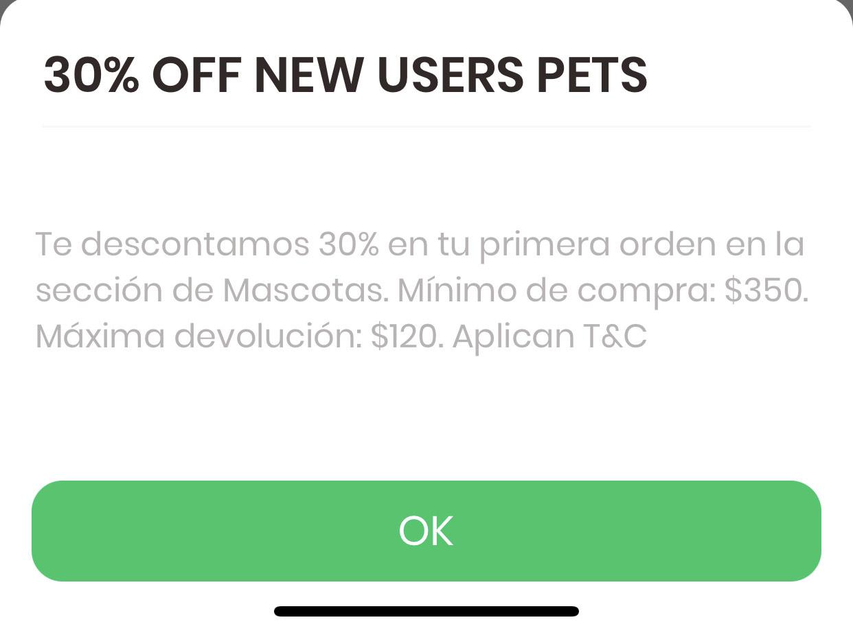 Rappi: 30% de descuento en tu primera compra en la sección Mascotas, compra mínima $350