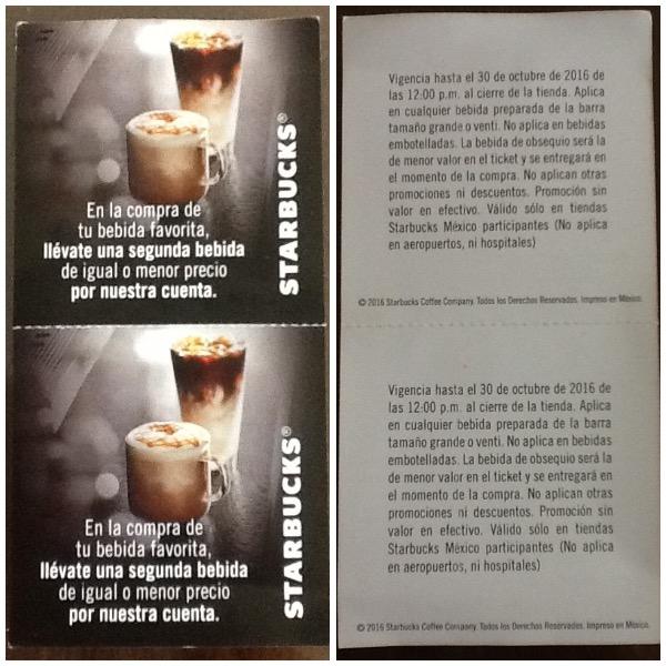 Starbucks: Compra tu bebida favorita y la segunda va por nuestra cuenta (requiere cupón físico)