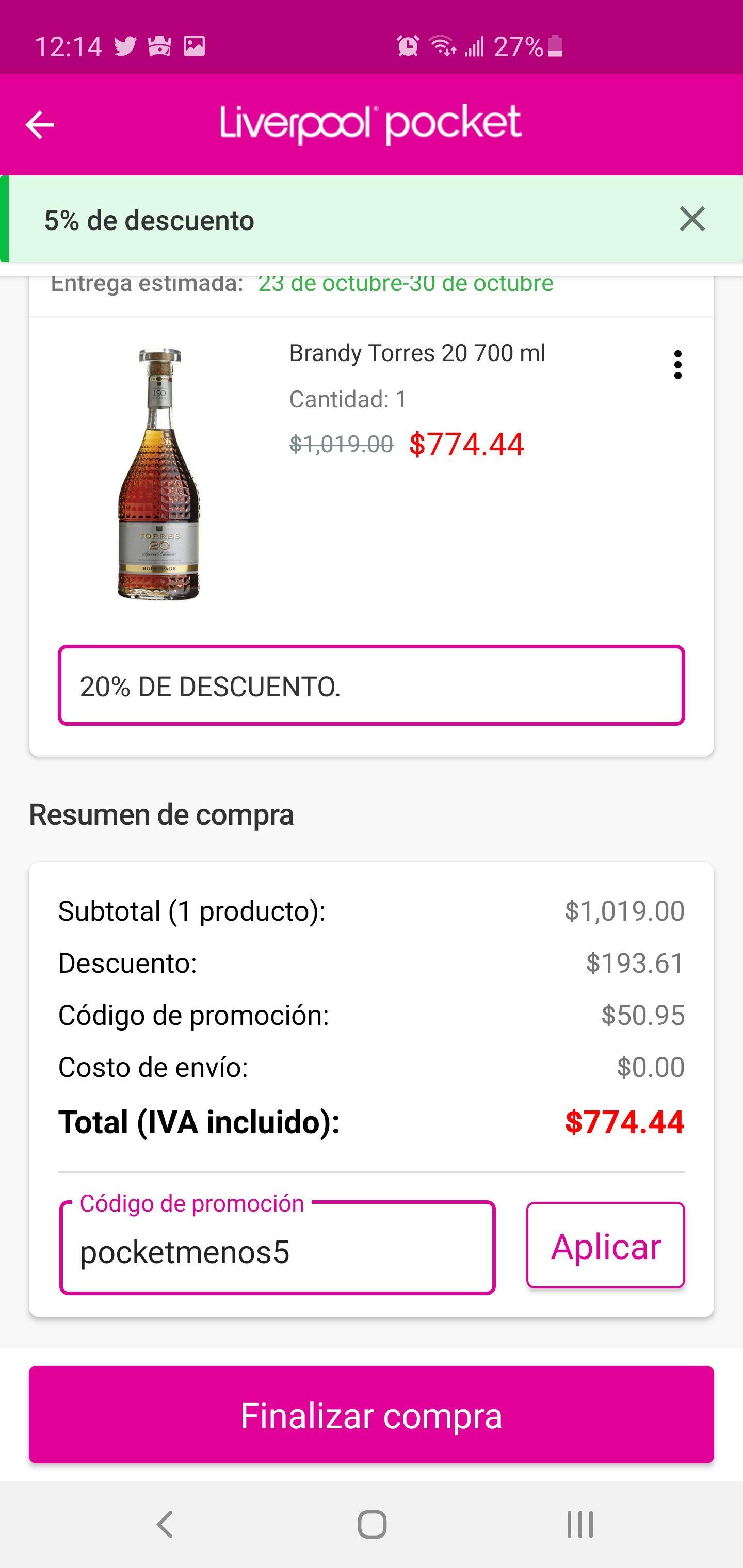 Liverpool Brandy torres 20 700 ml ($774con cupón de nuevo usuario)