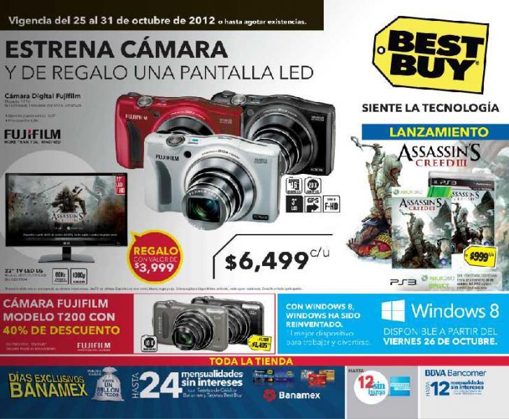 """Best Buy: gratis TV LED de 22"""" comprando cámara Fuji F770, descuentos en pantallas LG y +"""