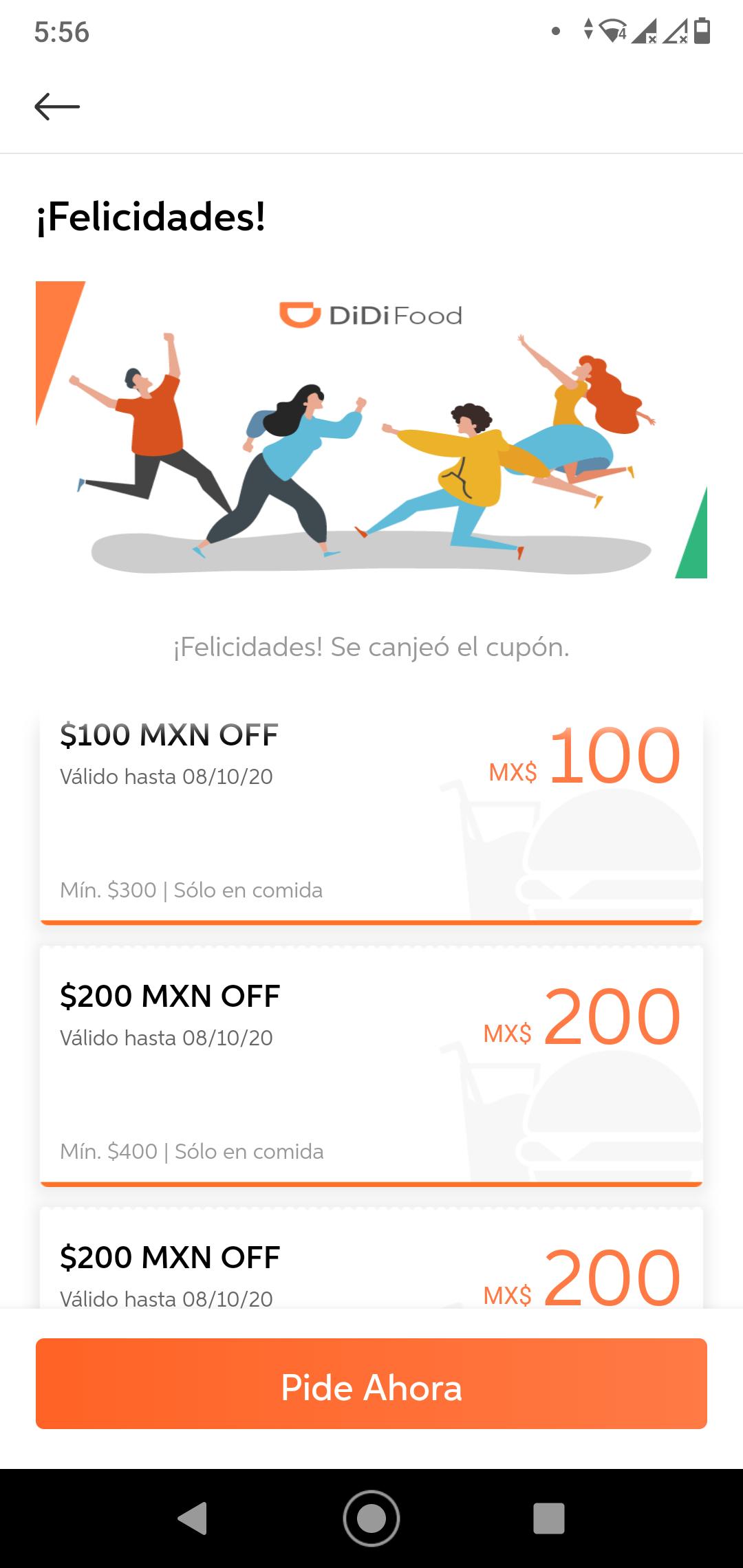 Didifood: cupón para 2 descuentos de $200 en Compras mayores a $400