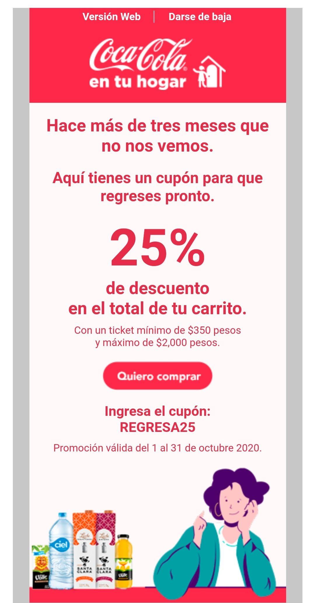 25% productos Coca Cola