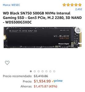 Amazon: SSD WD Black 500GB NVMe