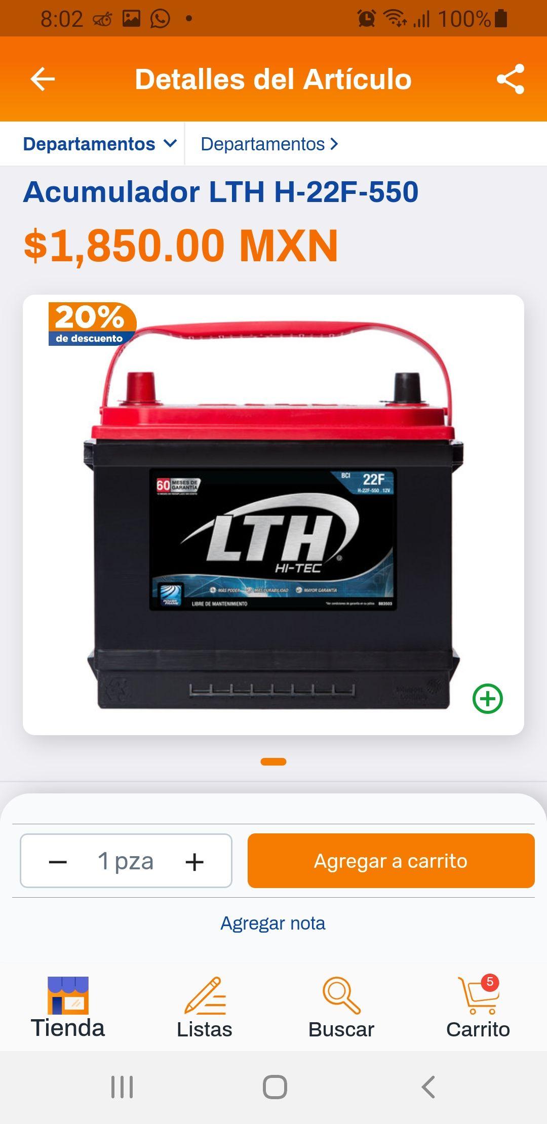 CHEDRAUI: 20% Descuento en Acumuladores LTH 24R-600, 22F-550, 42-550 para auto
