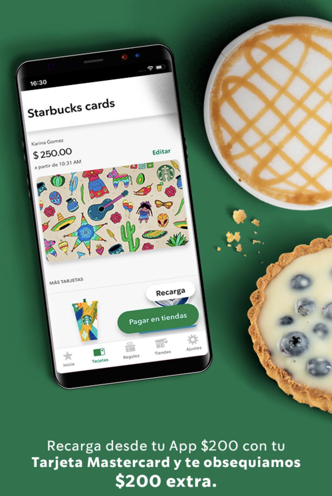 Starbucks: $200 al recargar $200 con Mastercard el jueves