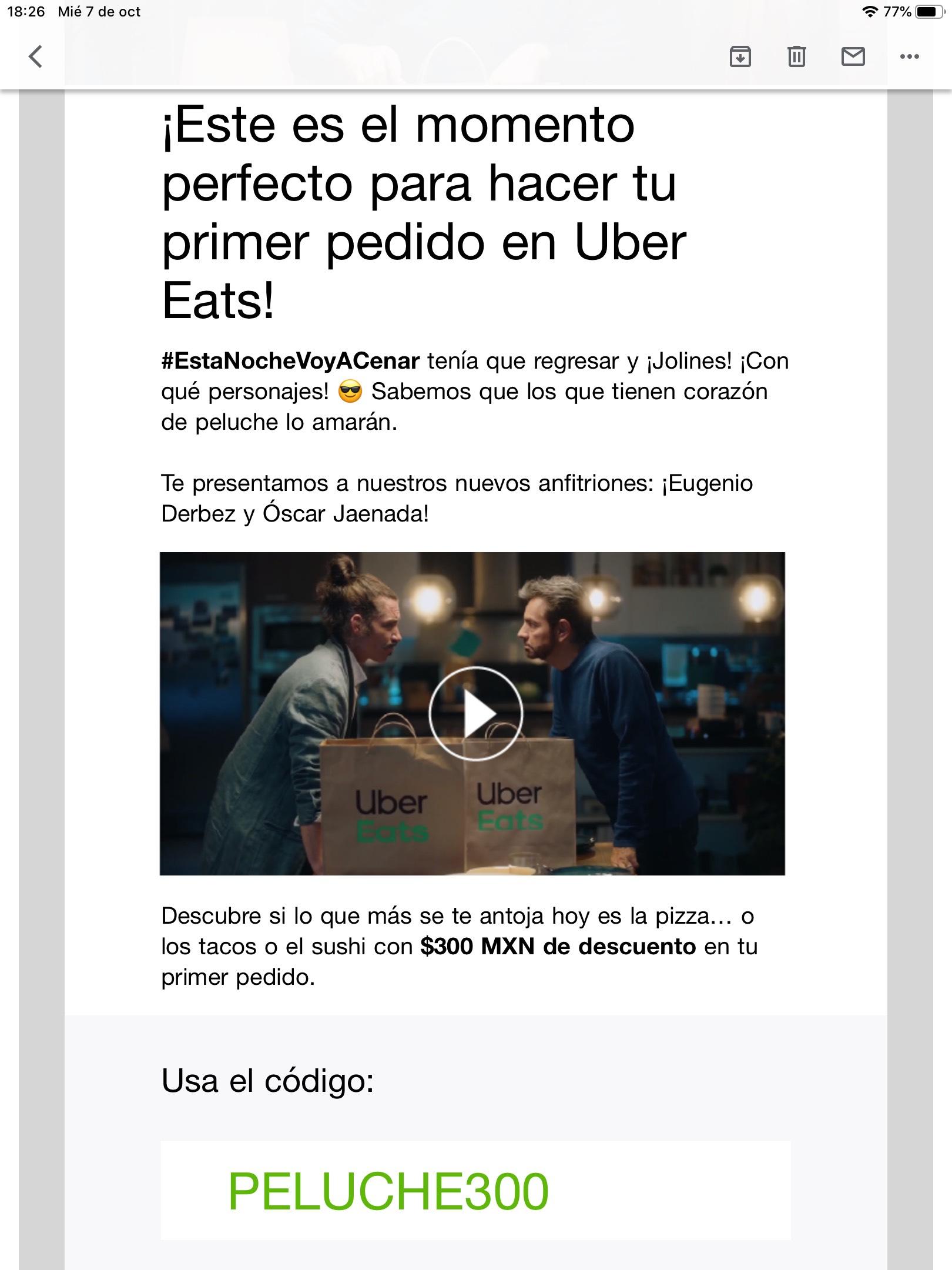 Uber Eats: Descuento de $300 (usuarios seleccionados)
