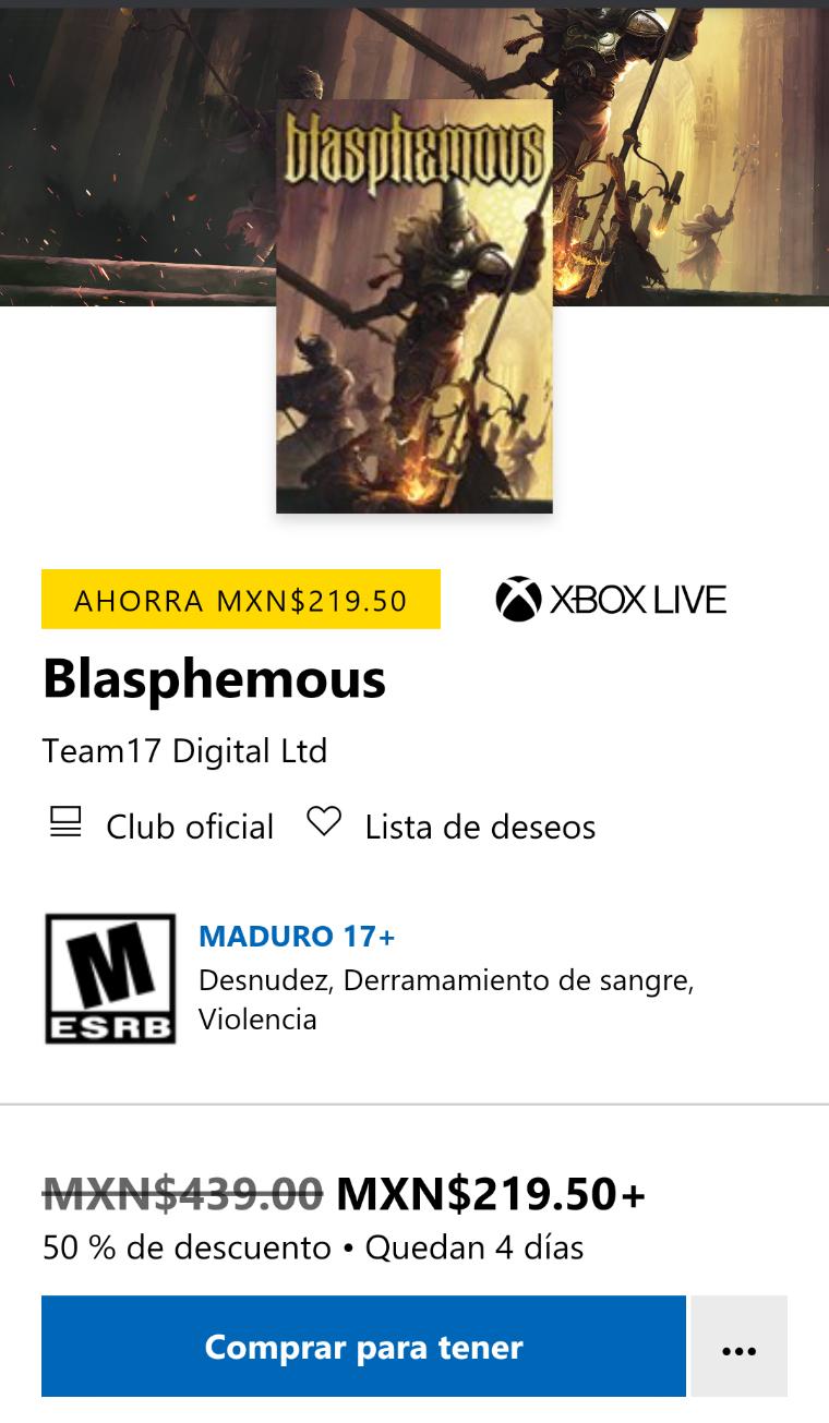 Microsoft Store: Blasphemous para Xbox One