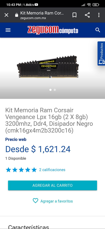 ZEGUCOM Kit Ram Corsair Vengeance 16gb (2 X 8gb) 3200mhz