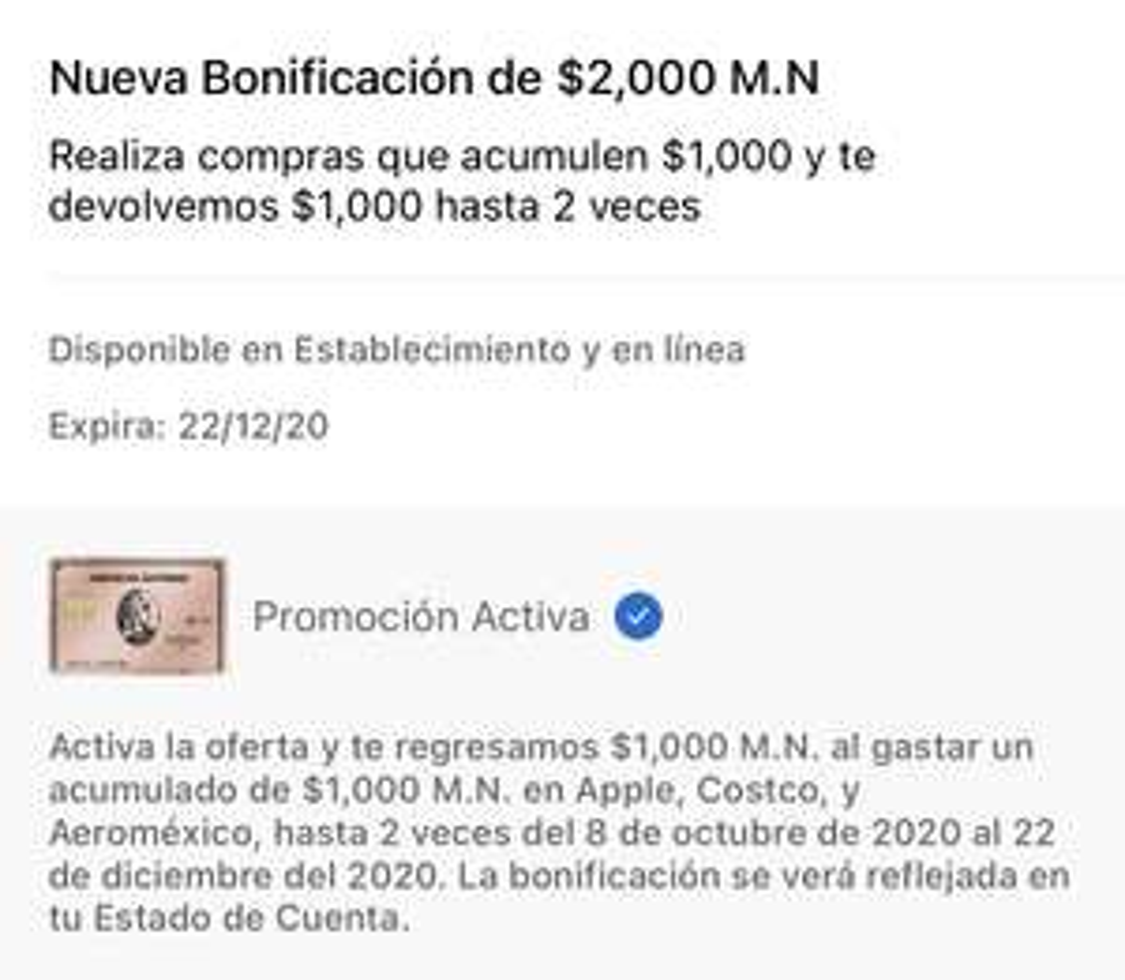 American Express: 2 Bonificaciones de 1,000 en compras de $1,000 en Costco, Apple y Aeromexico