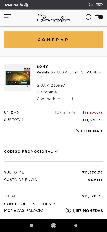 Palacio de Hierro: Pantalla Sony XBR-55X800H 65 pulgadas 4k