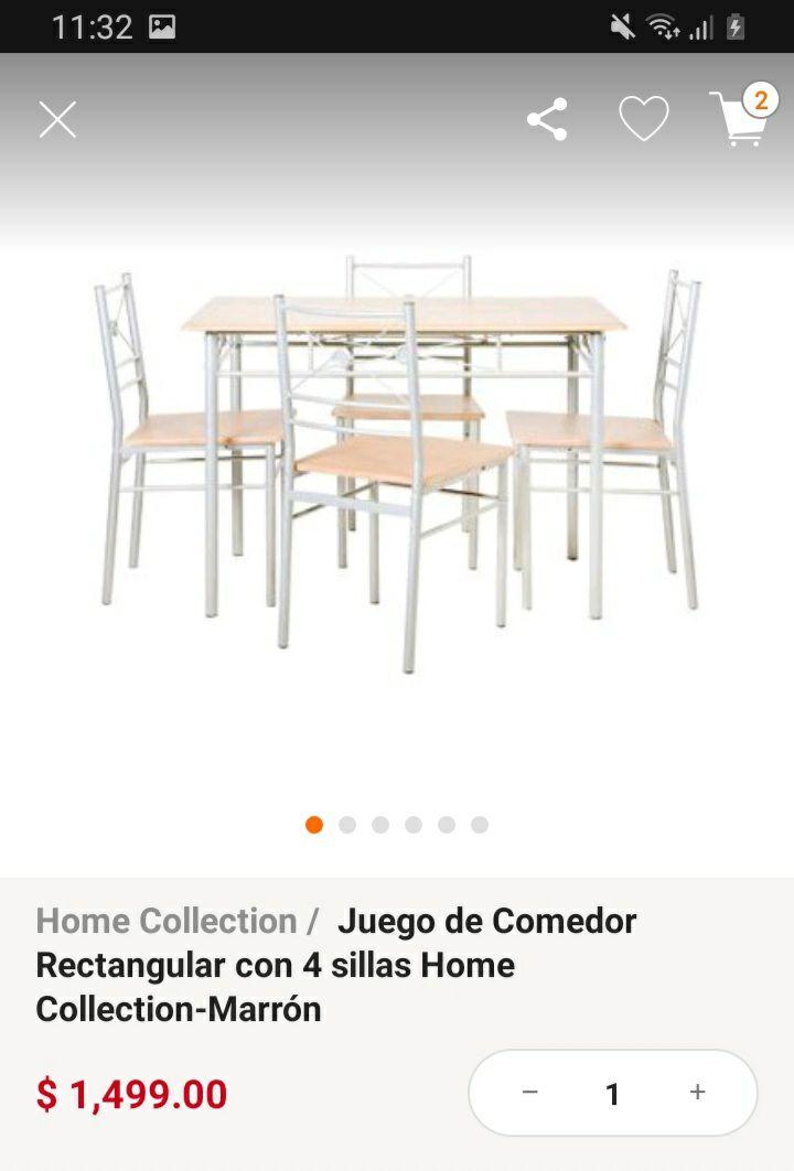 Linio: Comedor con 4 sillas x 1499