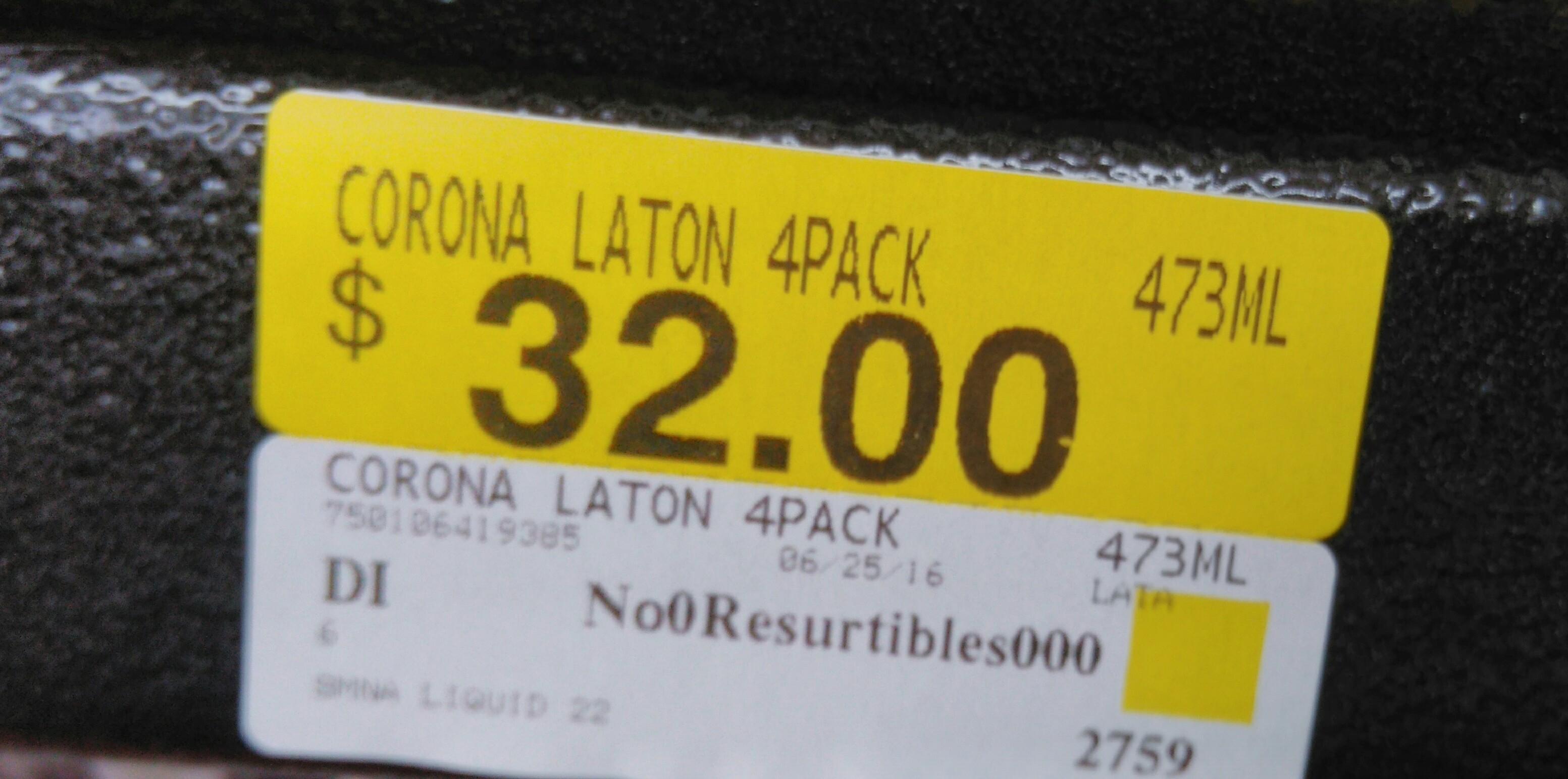 Walmart 57 San Luis Potosi: Corona laton de 4 pack a $32