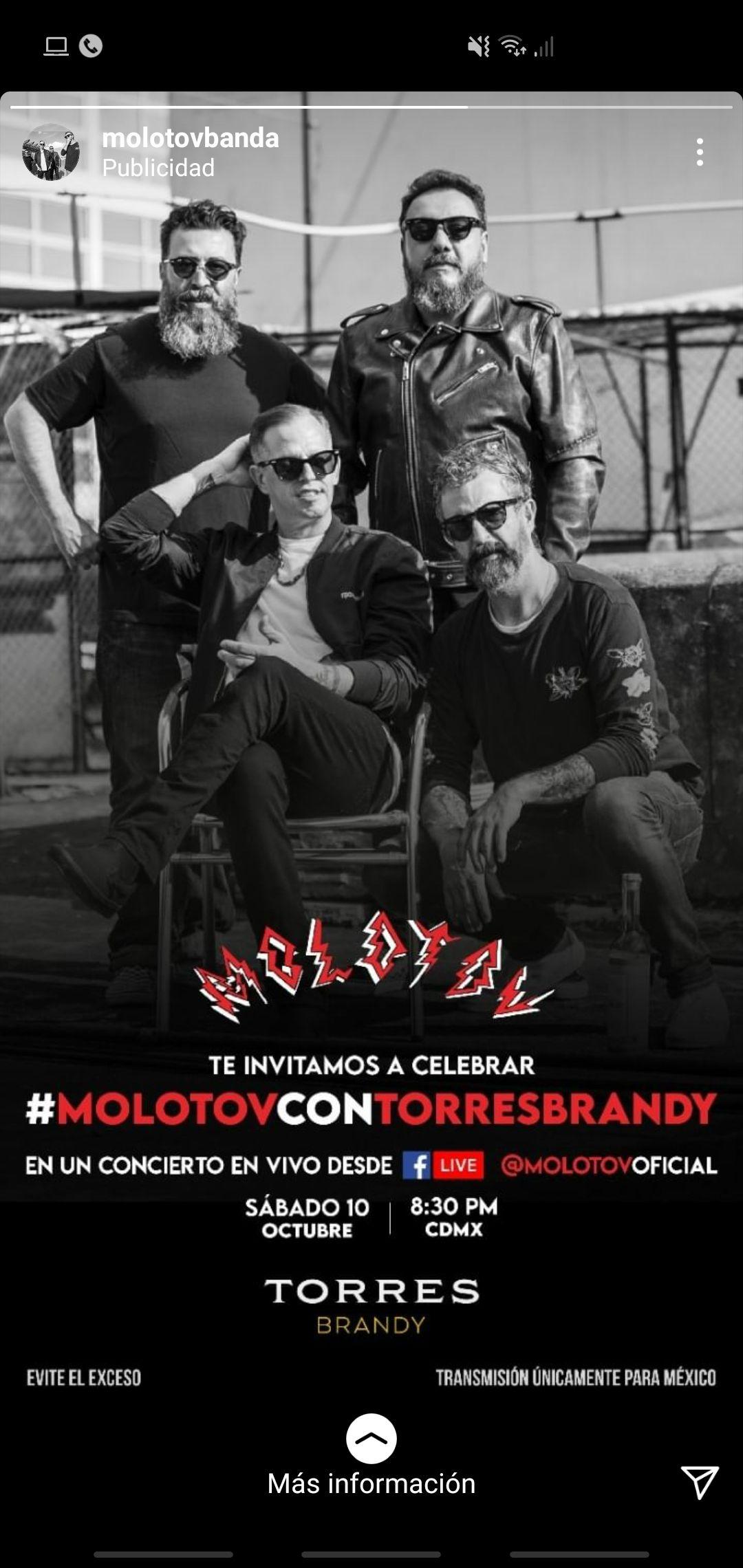 Concierto Molotov 10 oct 8:30pm